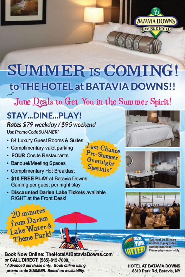 hotel at batavia downs june specials