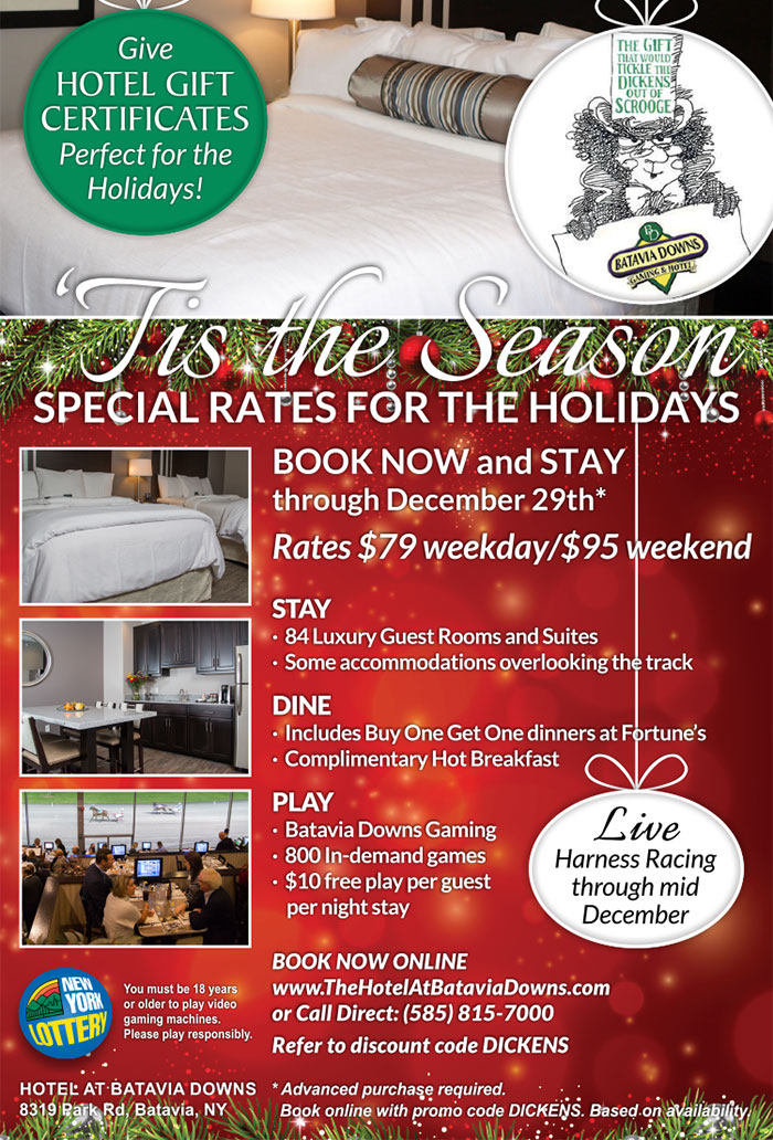 December specials at the Hotel at Batavia Downs