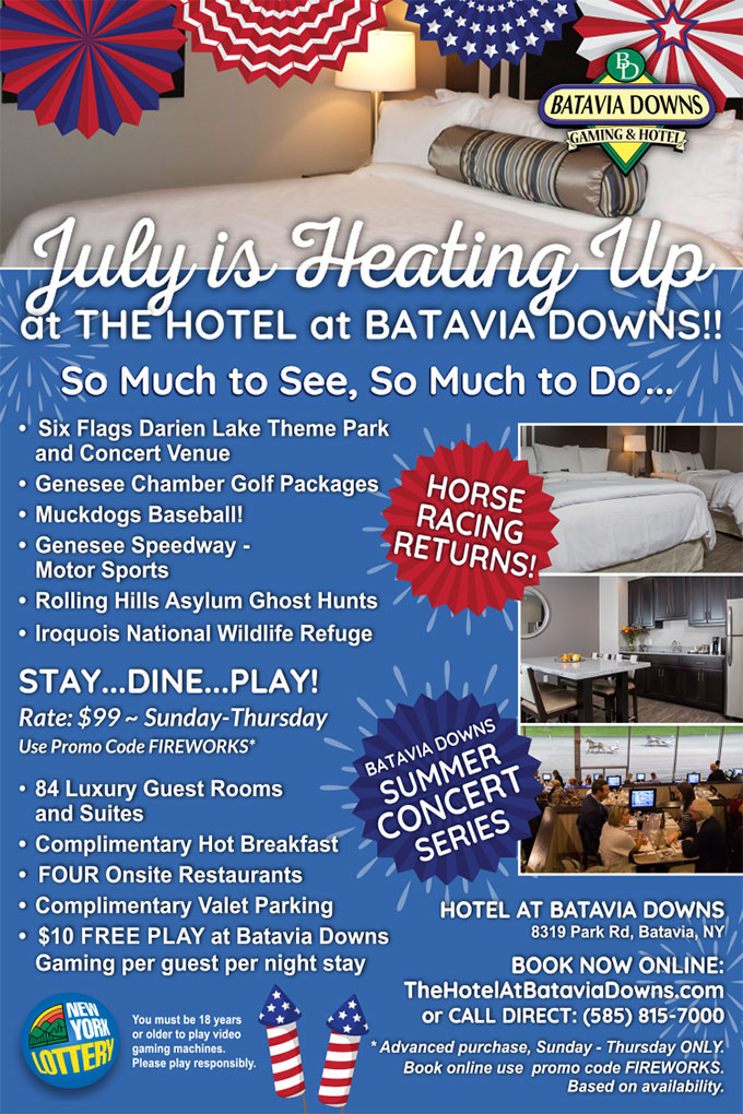 July Specials Flyer Hotel at Batavia Downs