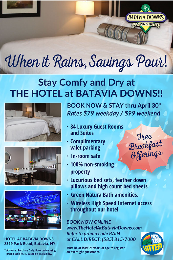 Hotel at Batavia Downs April Specials