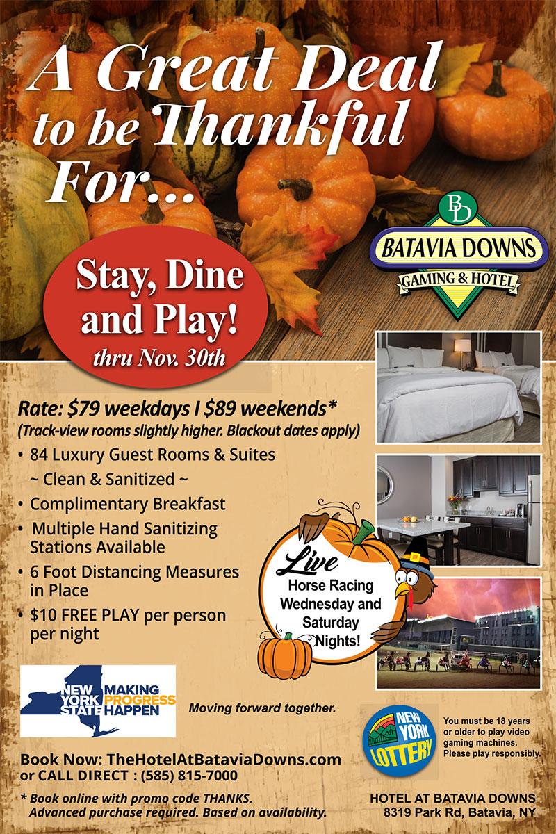 November deals Hotel at Batavia Downs