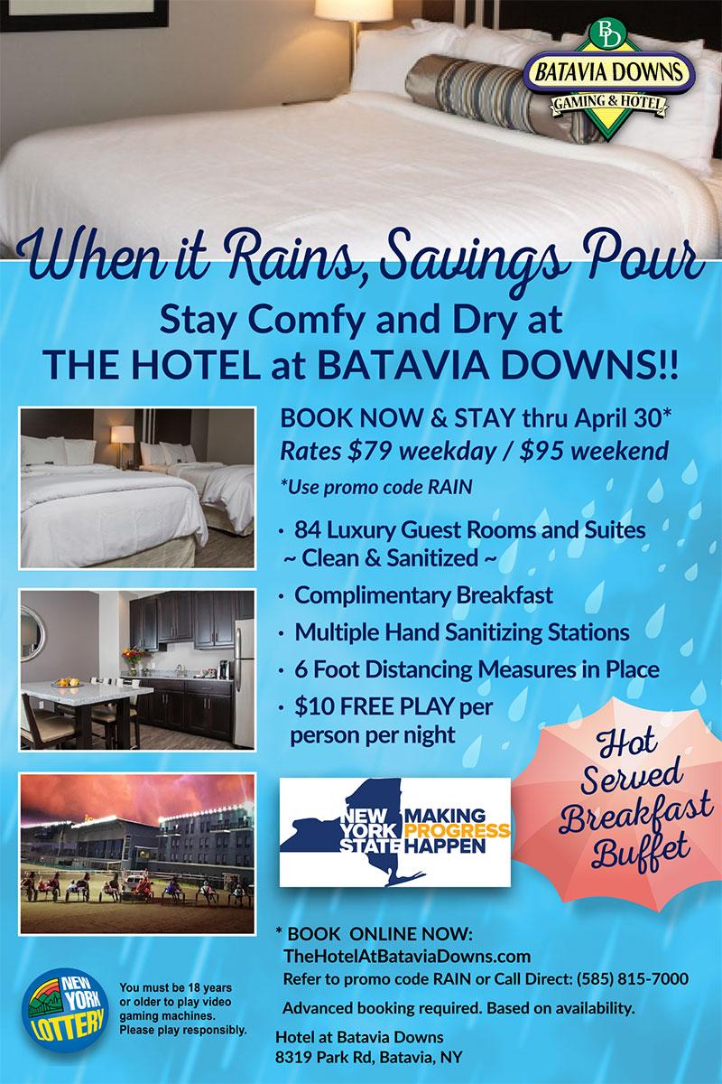 Hotel at Batavia Downs April special offer